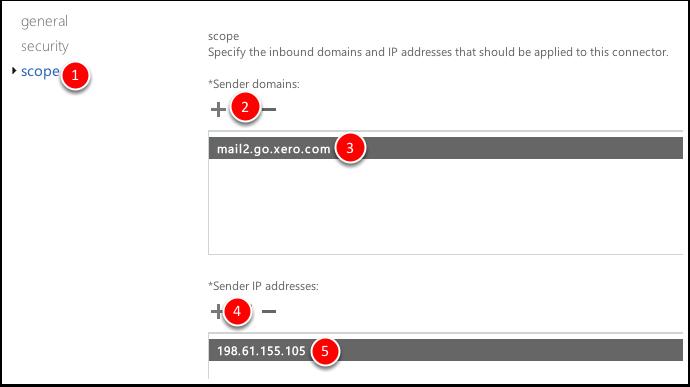 1. scope tab 2. Click + to add sender domain 3. Sender domain: mail2.go.xero.com 4. Click + to add Sender IP address 5. Sender IP address: 198.61.155.105 Click Save